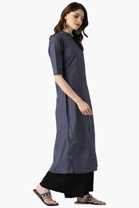 Womens Polyester Checks A-Line Kurta with Pockets