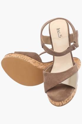 Womens Casual Wear Velcro Closure Heel Sandals