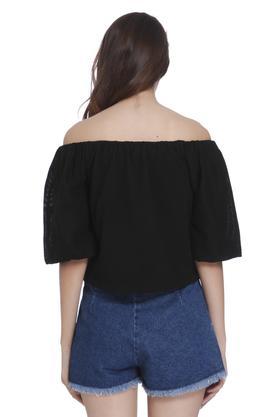 Womens Off Shoulder Solid Top