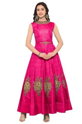 VRITIKA Womens Banglori Silk Semi-stitched Gown - 204061868_9557