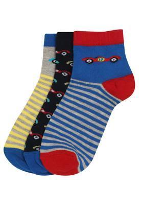 Boys Printed and Stripe Socks Pack of 3