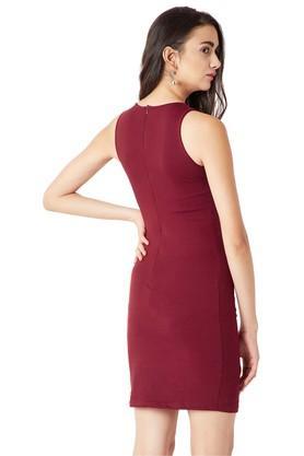 Womens Round Neck Embellished Bodycon Dress