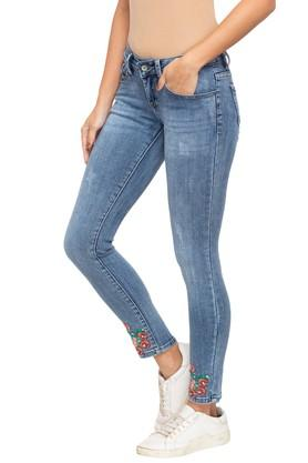 Womens 5 Pocket Printed Heavy Wash Jeans