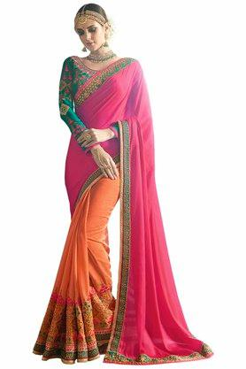 VRITIKA Womens Embroidered Saree With Blouse - 204144525_9508