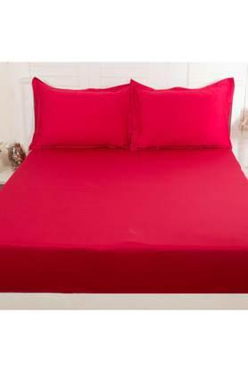 Colorart Cotton Satin Solid Double Bedsheet with 2 Pillow Covers