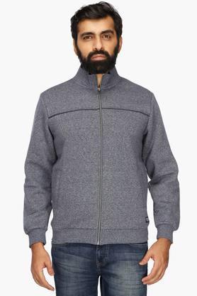 OCTAVEMens Zip Through Neck Slub Sweatshirt