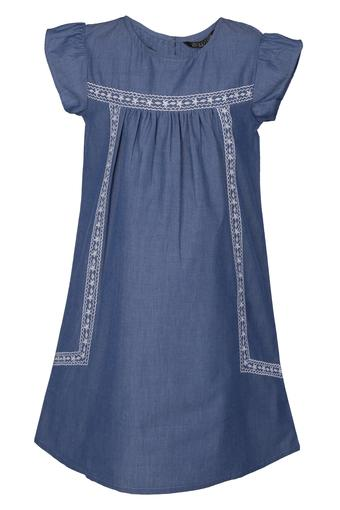 Girls Round Neck Rinse Wash Embroidered Flared Dress