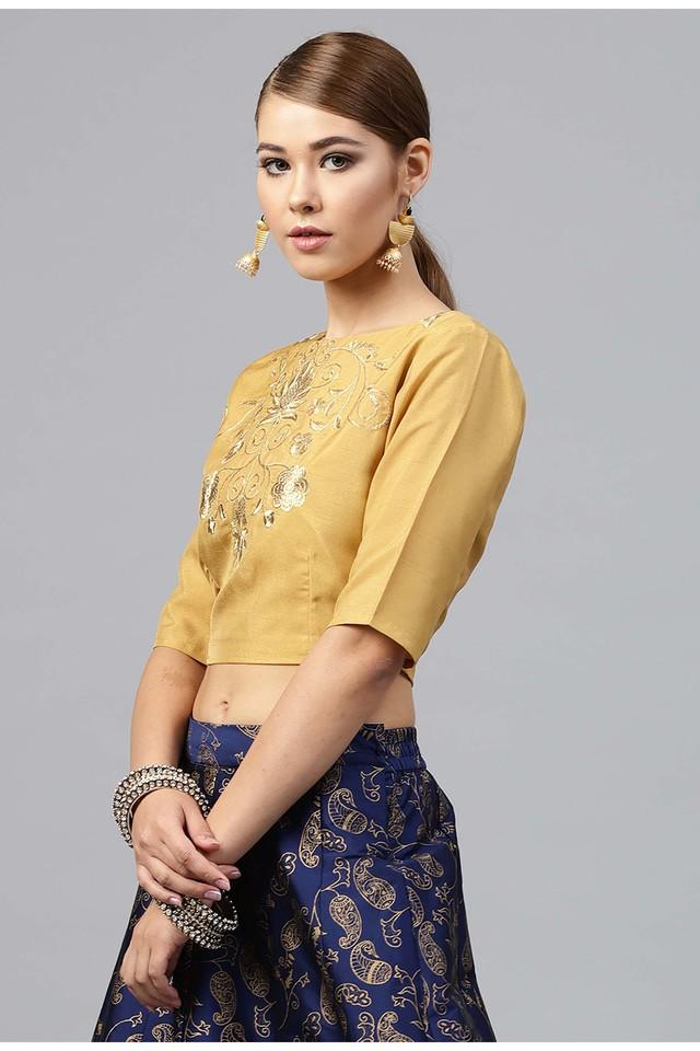 Womens Boat Neck Embroidered Crop Top