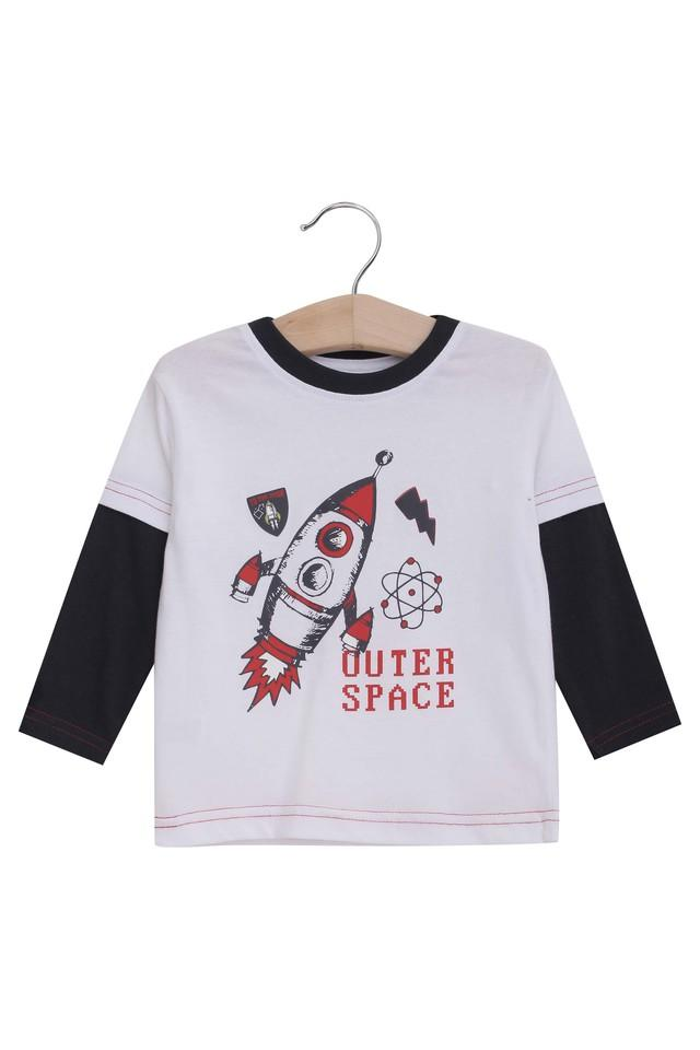 Boys Round Neck Printed Tee and Solid Pants