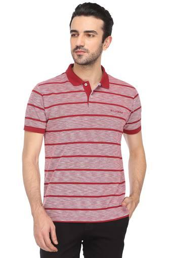 d80170d3 Buy TOMMY HILFIGER Mens Striped Polo T-Shirt | Shoppers Stop