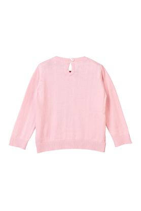 Girls Round Neck Sequined Sweater