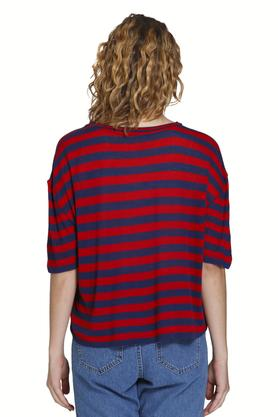 Womens Round Neck Striped T-shirt