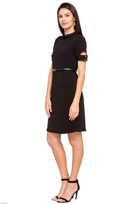 Womens Peter Pan Collar Solid A-Line Dress