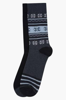 STOP Mens Printed And Solid Socks Pack Of 2