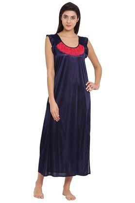0a070d02fc X CLOVIA Womens Round Neck Solid Night Gown