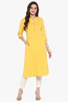 JUNIPER Womens Dobby Asymmetric Kurta With Tassels