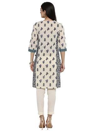 Womens Cotton Floral Print Straight Kurta
