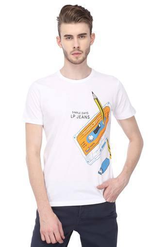 Mens Slim Fit Round Neck Printed T-Shirt