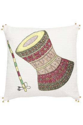 Square Applique Self Pattern Cushion Cover