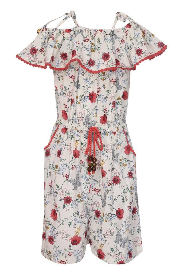 Girls Off Shoulder Neck Floral Print Jumpsuit