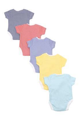 Boys Envelope Neck Striped Babysuit - Pack Of 5