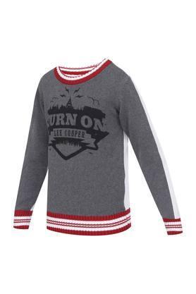 Boys Round Neck Printed Sweater