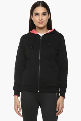K MARK JACKETS Womens Hooded Solid Reversible Sweatshirt