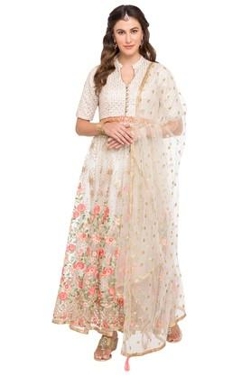 KASHISH Womens Mandarin Neck Embroidered Gown With Dupatta
