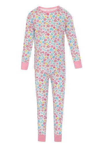 Girls Round Neck Floral Print Top and Pants Set