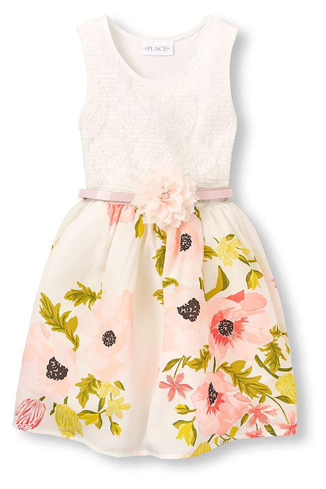 Girls Round Neck Lace Dress