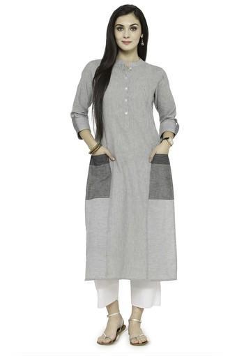 Women Cotton Striped Straight Kurta