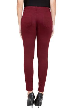 Womens 4 Pocket Solid Jeggings