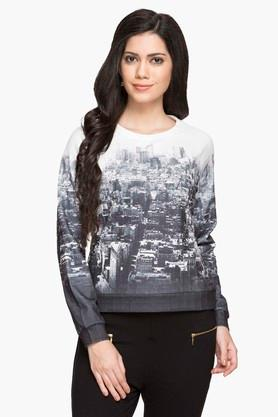 ELLE Womens Round Neck Printed Sweatshirt