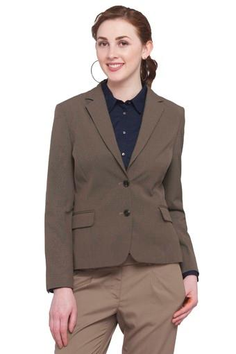 Womens Notched Lapel Slub Blazer