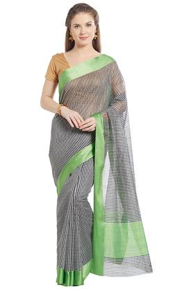 JASHN Womens Checked Art Silk Saree