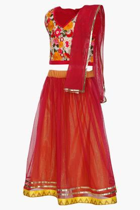 Girls V Neck Assorted Ghaghra Choli and Dupatta Set