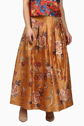 LABEL RITU KUMAR Womens Printed Box Pleats Skirt