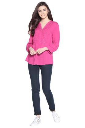 Womens Mandarin Neck Embellished Tunic