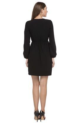 Womens Surplice Neck Solid A-Line Dress
