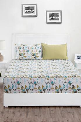 Superfine Cotton Multi Pastel King Bedsheet with 2 Pillow Covers - 210 TC