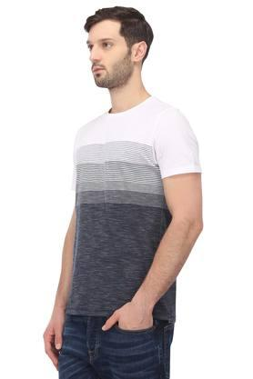Mens Straight Fit Round Neck Striped T-Shirt