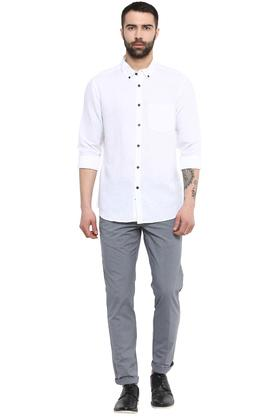 Mens Button Down Collar Slub Shirt