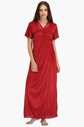 Womens V- neck Solid Robe