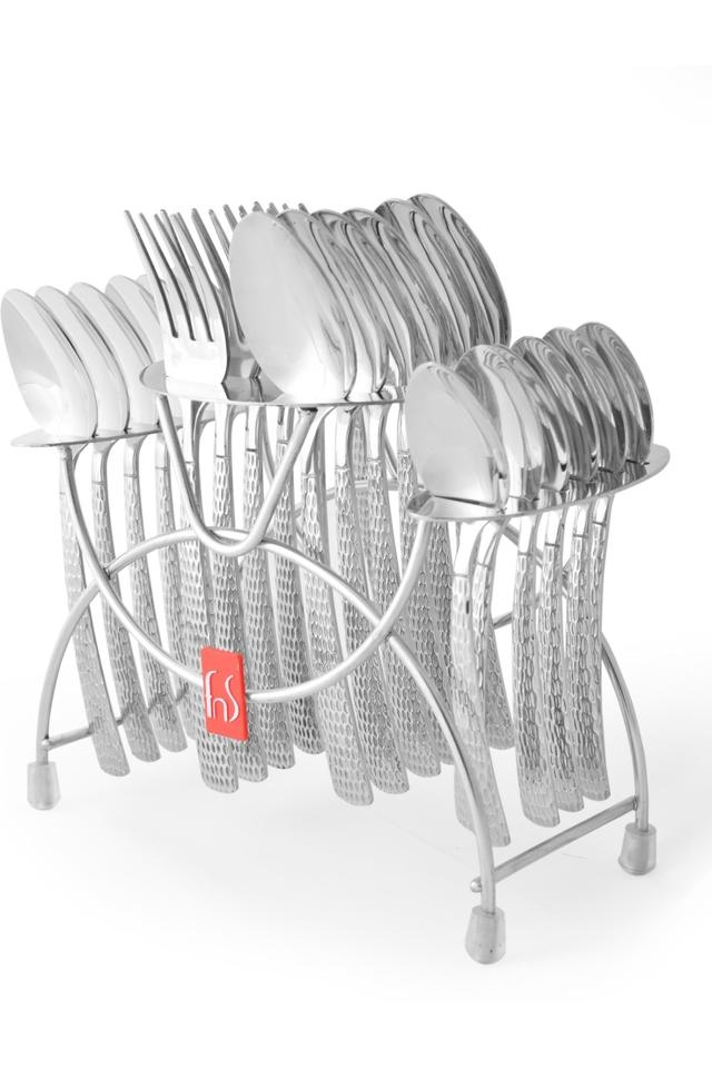 Madrid Embossed Fork and Spoon with Cutlery Holder Set of 24