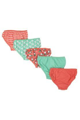 Girls Solid Striped and Printed Briefs - Pack of 5