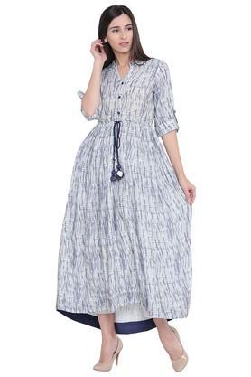 Womens Mandarin Neck Printed Calf Length Dress