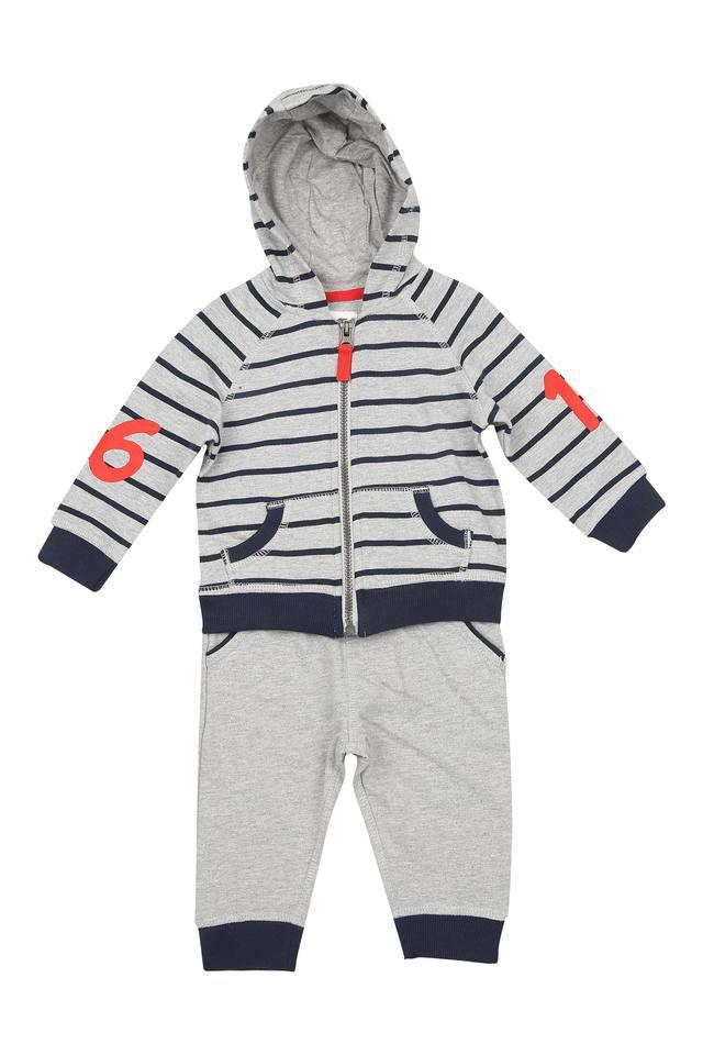 Boys Hooded Neck Striped Pants and Sweatshirt