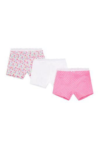 9f363d55cf73 Buy MOTHERCARE Girls Floral Print Dot Pattern and Solid Boy Shorts - Pack Of  3 | Shoppers Stop
