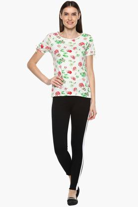 Womens Round Neck Floral Print T-Shirt