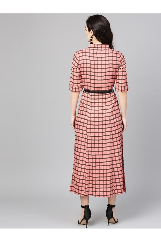 Womens Collared Neck  Checks Shirt Dress